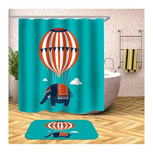 Bishilin 3D Anti-Schimmel Duschvorhang 90x180, Heissluftballon Elefant Badezimmer Fußmatten 40x60 Badematte Set 2 Teilig