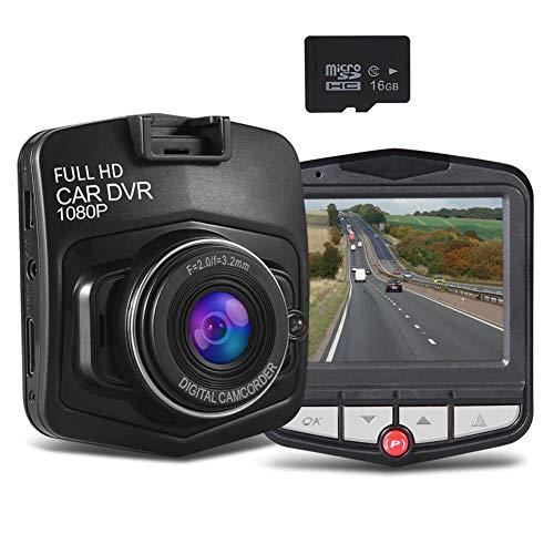 Mini cámara de salpicadero para coche con grabadora de cámara de salpicadero, Full HD 1080P con tarjeta SD de 16 GB incluida con sensor G Loop grabación, color negro