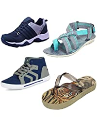 Earton Men Combo Pack Of 4 Sports Shoes & Casual Shoes With Sandals & Slippers