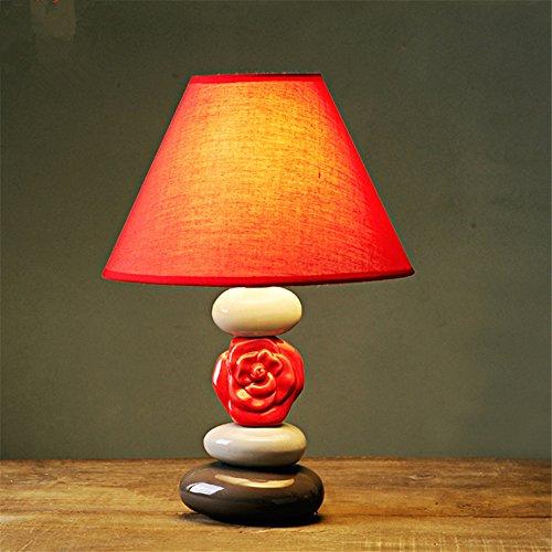 Tisch Nachttischlampen,Modernen nordischen Einfache rote Keramik Tischleuchte, Keramik Lampenfassung Stoff Lampenschirm kreative deco Tischlampe Schlafzimmer Nachttischlampe, kleine -22,5 * 31 cm