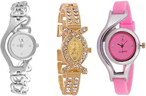 Freny Exim Analogue Multicolor Dial Girl's & Women's Combo Of 3 Watch (Silv Chain Aks Pk Wcp)