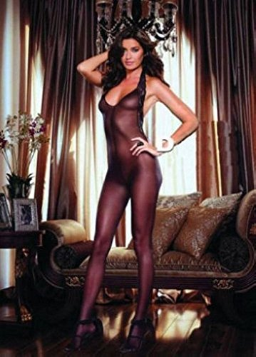 Schwarz Kostüme Body Full (LPGSE-Mode sexy Frauen Schwarz Neckholder Top Full Body Strumpf Ouvert)