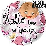 Hallo i bims ein Mädchen XXL Ø 71cm | Folien Luftballon zur Geburt | Inkl. gratis Geschenkkarte | Helium geeignet | Made in Germany High Quality Ballon vom Luftballonprofi & deutschen Heliumballon Experten