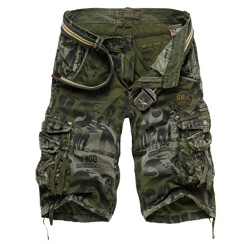 Men's Loose Camouflage Multi Pocket Knee Length Casual Shorts army Camouflage