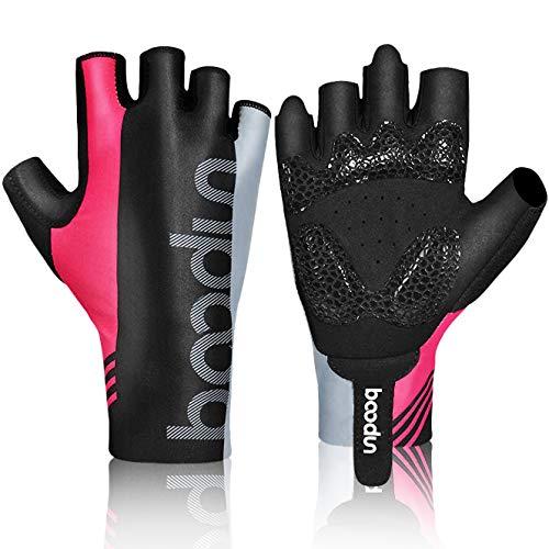HASAGEI Fahrradhandschuhe Fingerlose Handschuhe Rennrad Handschuhe Dünne Radsport Handschuhe für Herren und Damen (Rosa, L) (Rosa Handschuhe Fingerlose)