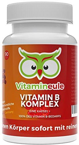 Vitamin B Komplex Kapseln - ohne künstliche Zusatzstoffe - 100% Zufriedenheitsgarantie - beste Qualität aus Deutschland! - 100% Zufriedenheitsgarantie - hochwertige B Vitamine - Vitamineule®