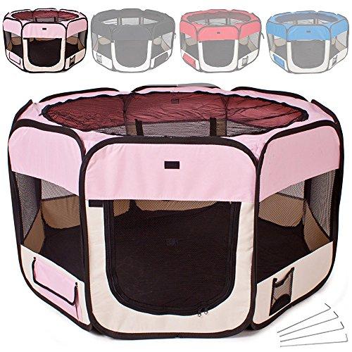 TecTake Parque para cachorros recinto parque para animales perros gatos - disponible en diferentes colores - (Rosa   no.