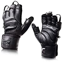 """Elite Leather Gym Gloves with Built in 2"""" Wide Wrist Wraps Best Leather Glove Design for Weight Power Lifting Bodybuilding & Strength Training Workout Exercises (Black, Medium)"""