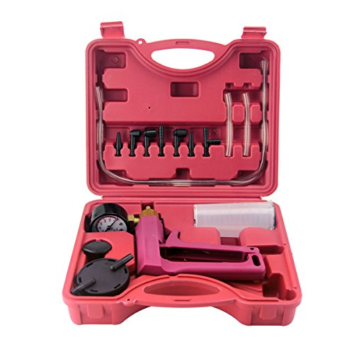 Qsicisl Vakuumpumpe, Handgerät, Tester-Set Vakuummeter und Bremsentlüftungspumpe für Kfz, mit Adapter und Kunststoff-Griff (Ist öl-druck Wo Der)
