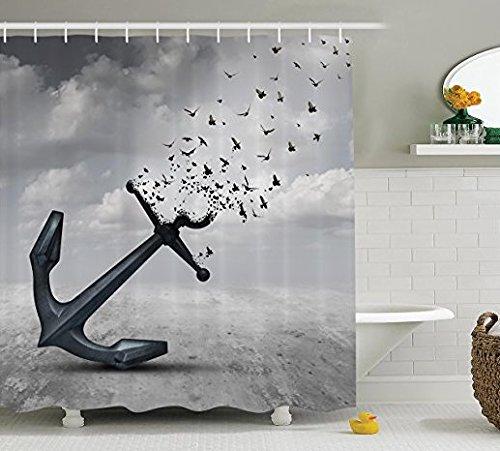 Grau Vorhang für die Dusche Flying Birds Decor von ormis, Anker in Flying Gruppe der Vögel Möwen für Freiheit und Hope Stimmung, Stoff Badezimmer Duschvorhang Set mit Haken (183cm x 183cm) (Anker-bad-handtücher)