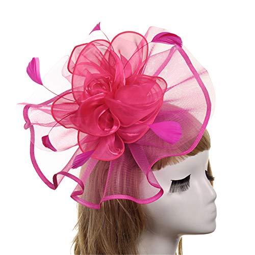 Hnks Fascinator-Hut Frauen Fascinators Hut Haarspange Feder Hochzeit Headware Braut 1920er Jahre Kopfschmuck Brautmütze (Color : Red) (Königliche Eleganz Halloween-kostüm)