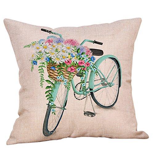 Akeelii Blumen Fahrrad Serie Baumwolle Leinen Kissenbezug Sofa Büro Dekor Kissenhuelle 45 x 45cm (F)