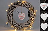 Deko Kranz mit 20 LED - Rattan Adventskranz 35 cm - Weihnachtskranz Türkranz Weidenkranz Holzkranz