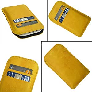 i-KitPit Quality PU Leather Pouch Case Cover For Micromax A68 Smarty (YELLOW)
