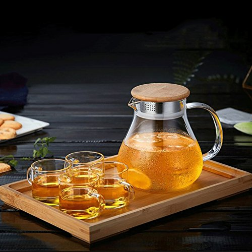 Théière en Verre Maison Cuisinière Ensemble de thé Filtre en Verre résistant à la Chaleur Haute capacité Haute température 1L 4 Tasses + Plateau à thé GAODUZI