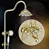 ZH Hochwertige Dusche Armaturen Setzen Mixer Duschwanne Regendusche in Rutsche Bar großen Duschkopf Gesetzt,Golden