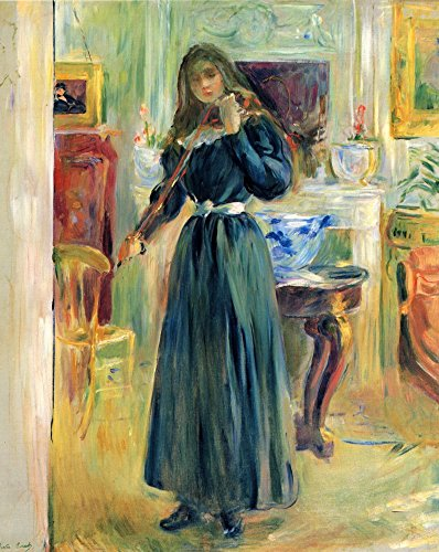 Das Museum Outlet-Julie spielt Geige von Morisot-Leinwand Print Online kaufen (76,2x 101,6cm)