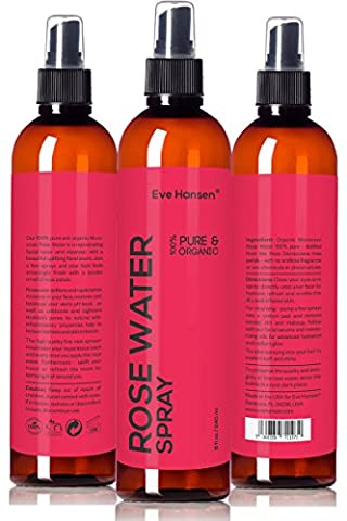 Organic Rose Water Spray - 240 Milliliter - 100 Percent Pure and Natural Hydrating Rosewater Toner with Uplifting Floral Scent. Soothing Facial Toner for Skin and Eyes. Balanced PH Soothes Puffy Eyes and