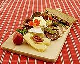 4 Picknick Holzbrett, Steakteller und Schinkenbretter rustikal, Buffetplatten aus Holz, Buffet Platte, 100% Naturholz - Küchenbretter im Set, Brotzeit- und Servierteller,mit abgerundeten Kanten, im 4er SET: Maße 1 ca. 42 cm x 20 cm mit Holzgriff + 1 Fisch ca. 35x16 cm + 1 ca. 22x12 cm mit Edelstahl-Griff + 1 viereckig mit Griff ca. 35x16 cm, Buffetplatten aus Holz, Buffet Platte