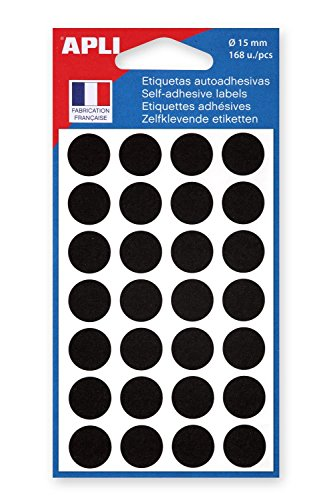 AGIPA-Lote de 3 saquitos de 168 pegatinas Pegatinas de señalización redondos 15 mm, color negro