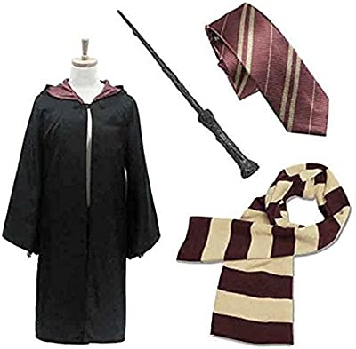 Robe of magic - Harry Potter cosplay costume gorgeous set of 4] Unisex size L Hogwarts Gryffindor emblem into magic wand and tie and scarf Harry Hermione Ron Harry Potter CaseEden of (cloak) and Harry (japan import)