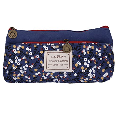 Imported Flower Canvas Pencil Case Cosmetic Makeup Pouch Zipper Bag Purse Dar...-14018988MG