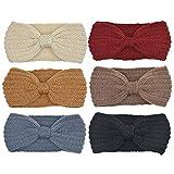 DRESHOW 6 Paires Crochet Turban Bandeau pour les femmes Warm Bulky Crocheted Headwrap