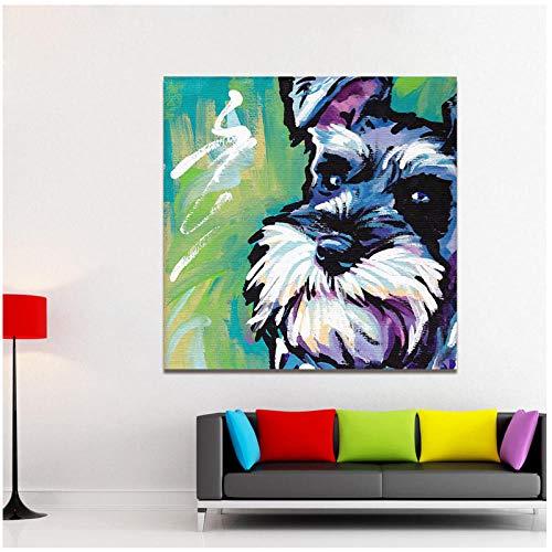Moderne Bunte Tier Abstrakte Leinwand Kunst Malerei Schnauzer Hund Pop Art Wandbilder für Wohnzimmer Wohnkultur Drucke / 50x50 cm-Kein Rahmen -
