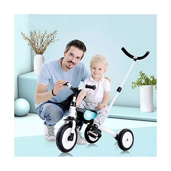 BGHKFF Versatile Childrens Folding Tricycle 18 Months To 5 Years Kids Tricycle Detachable And Adjustable Push Handle Non-slip Handles Anti-slip Pedals Childrens Tricycles Maximum Weight 25 Kg,Blue BGHKFF ★Material: Aluminum alloy, suitable for children from 18 months to 5 years old, maximum load: 25 kg ★Pusher can be adjusted, 2 height adjustments, can adapt to your height. Easy to disassemble and easy to install. ★ Built-in steering link: Parents can change direction by the push rod, and the push rod is directly connected to the handlebar of the tricycle through the steering link. 1
