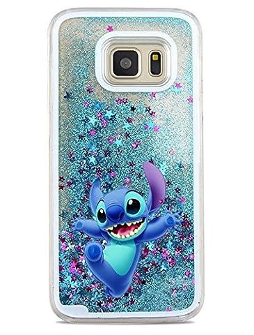 Phone Kandy® Hart Transparent Shell Glitter Stars Sparkle Telefon-Kasten mit Karikatur Hülle Abdeckung Haut tascen (Samsung Galaxy S7 Edge, Stitch)