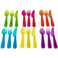 KALAS set di posate da 18 pezzi colori assortiti per feste e per uso giornaliero realizzate in plastica duratura