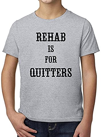 Rehab Is For Quitters Ultimate Youth Fashion T-Shirt by Benito Clothing - 100% Organic, Hypoallergenic Cotton- Casual Wear- Unisex Design - Soft Material 9-11 years