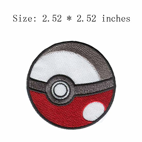 coolpart Pokemon Go Ball Stickerei Patch 6,4 cm breit/Charakter/RPG/Bügeln Perfekte Patches