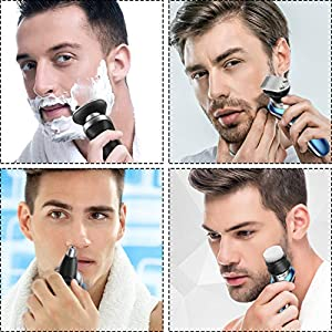 Hatteker Electric Shaver for Men Rotary Shaver Electric Razor Beard Trimmer Nose Hair Trimmer Cordless Wet Dry Face Brush 4 in 1