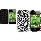 2X Tier Series Bunt Leopard Feder+Weiß/Schwarz ZEBRA Tasche Für IPHONE 4 4S