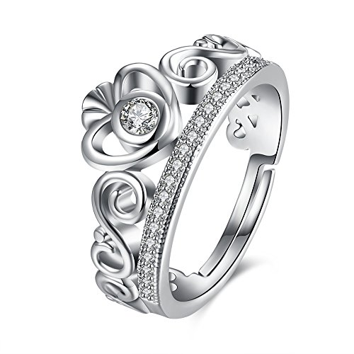 Via Mazzini Platinum Plated Royal Princess Crown Heart Proposal Ring For Women (Ring0295) - FREE SIZE