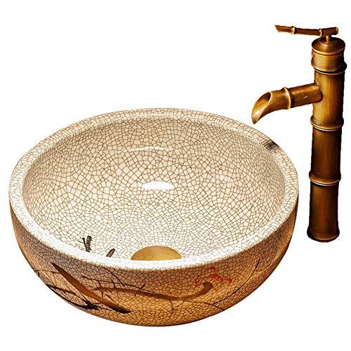 Lavello per vasi in porcellana lavello per bagni in vetro, lavapiatti rotondi, combinazione di scarico pop-up, ceramica dipinta a mano con ghiaccio (pesce rosso), bacino artistico