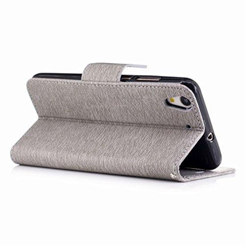 Yiizy Huawei Honor Holly 3 / Huawei Y6 II Custodia Cover, Fiore Di Farfalla Design Sottile Flip Portafoglio PU Pelle Cuoio Copertura Shell Case Slot Schede Cavalletto Stile Libro Bumper Protettivo Bor Grigio
