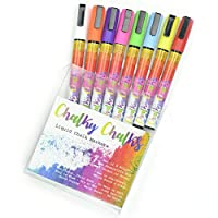 8 Bright Liquid Chalk Pens with FREE Chalkboard Sponge by Chalky Chalks. Blackboard Markers with reversible 3mm nib (fine, writing)
