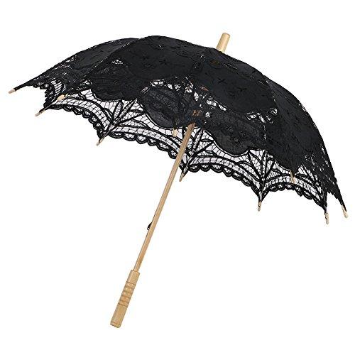 Moresave Spitze Baumwolle Hochzeit Regenschirm Stickerei Sonnenschirm Braut Zubehör