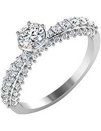 IskiUski White Gold And American Diamond Ring For Women - B075VH8VTT