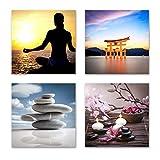 Feng Shui Bilder Set D schwebend, 4-teiliges Bilder-Set jedes Teil 29x29cm, Seidenmatte Optik auf Forex, moderne Optik, UV-stabil, wasserfest, Kunstdruck für Büro, Wohnzimmer, XXL Deko Bild