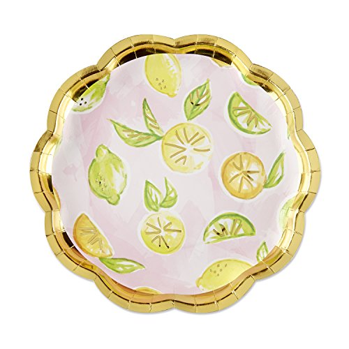 Kateaspen 28394NA Cheery and Chic Citrus Paper Plates Papierteller Pink, Gold, Green, Yellow Orange - Aspen Green
