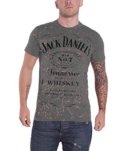 Jack Daniels Classic Logo Acid Washed offiziell Herren Nue Grau T Shirt