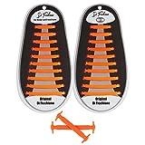 Di Ficchiano DF-Silikon-orange Premuim No Tie Shoelaces für Kinder und Erwachsene/Flache elastische Schnürsenkel für Sneaker, Sport- und Freizeitschuhe