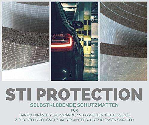Preisvergleich Produktbild Selbstklebende Schutzmatte im Doppelpack,  Wandschutz,  Garagenschutz,  Türschutz,  Türkantenschutz für die Autotür an der Garagenwand,  bewahrt vor Lackschäden,  universeller Stoßschutz STI PROTECTION