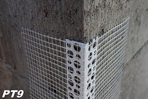 40 Meter Außenputzprofil Eckwinkel aus PVC mit Armierung Gewebe 70x70 mm PT9