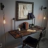 Schweberegale- Massivholz Wandregal Wand Computer Schreibtisch mit Metall Eisen Wasserpfeife Regale Wandbehang für Wohnzimmer als Bücherregal Lagerregal Wand Dekorationen Design Vintage LOFT Industrie Stil