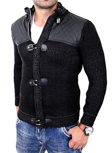 Reslad Herren Strickjacke Grobstrick Jacke mit PU-Leder Patched RS-16058 Schwarz