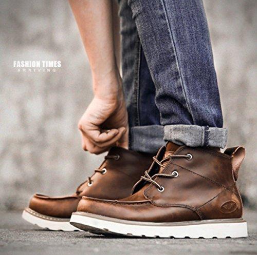 LINYI Hommes Chaussures En Cuir Véritable Mode Martin Bottes Sports Occasionnels Chaussures De Marche Brown